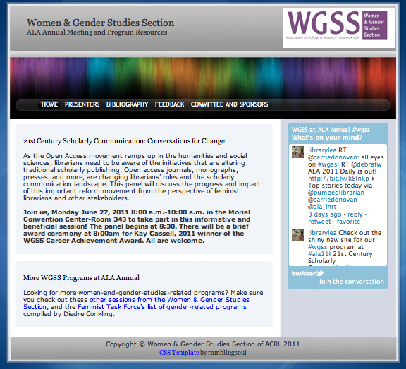 Screenshot of WGSS program site for ALA Annual